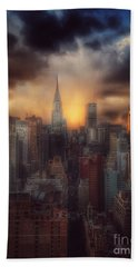 City Splendor - Sunset In New York Beach Sheet by Miriam Danar