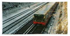 City Train In Berlin Under The Snow Beach Towel