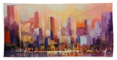 Beach Towel featuring the painting Cityscape 2 by Rosario Piazza