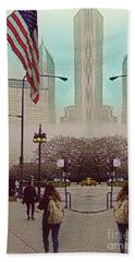Cityscape With A Bit Of Fog Beach Towel by Kathie Chicoine