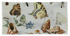 Clams, Butterflies, Flowers And Insects Beach Towel
