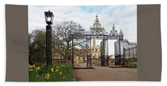 Beach Towel featuring the photograph Clare College Gate Cambridge by Gill Billington