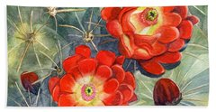 Claret Cup Cactus Beach Towel by Marilyn Smith