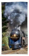 Class J 611 Steam Engine At Ridgecrest Beach Towel