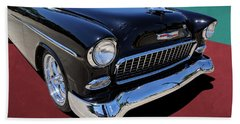 Classic Black And White 1950s Chevy Bel Air Beach Towel