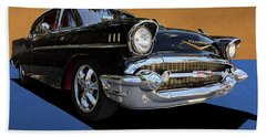 Classic Black Chevy Bel Air With Gold Trim Beach Towel