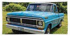 Classic Blue Ford Pickup Truck Beach Towel