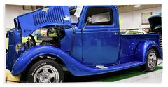Classic Blue Ford Truck Beach Sheet by Tyra OBryant