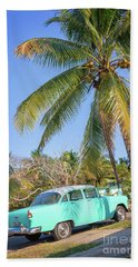 Classic Car In Playa Larga Beach Towel