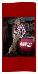Beach Towel featuring the photograph Classic Coca-cola Cowboy by James Sage