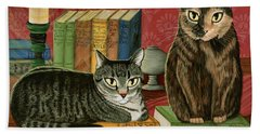 Classic Literary Cats Beach Towel