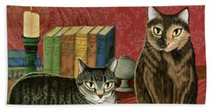Beach Towel featuring the painting Classic Literary Cats by Carrie Hawks