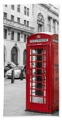 Red Telephone Box In London England Beach Sheet