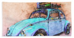 Classic Road Trip Ride Watercolour Sketch Beach Towel