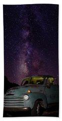 Classic Truck Under The Milky Way Beach Sheet