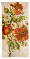Classic Vintage Shabby Chic Rustic Poppy Bouquet Beach Towel