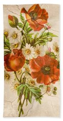 Classic Vintage Shabby Chic Rustic Poppy Bouquet Beach Sheet