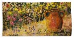 Clay Pot In The Garden Beach Sheet by Lou Ann Bagnall