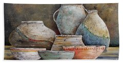 Beach Towel featuring the painting Clay Pottery Still Lifes-a by Jean Plout