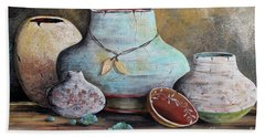 Beach Sheet featuring the painting Clay Pottery Still Lifes-b by Jean Plout