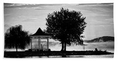 Claytor Lake Gazebo - Black And White Beach Towel