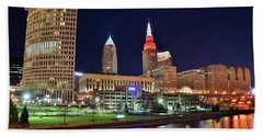 Beach Sheet featuring the photograph Cle Over The Cuyahoga by Frozen in Time Fine Art Photography