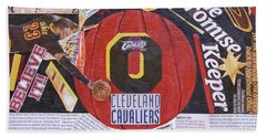 Beach Towel featuring the painting Cleveland Cavaliers 2016 Champs by Colleen Taylor