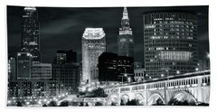 Cleveland Iconic Night Lights Beach Towel by Frozen in Time Fine Art Photography