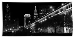 Cleveland In Black And White Beach Sheet
