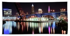 Beach Sheet featuring the photograph Cleveland Ohio Lights Up With Color by Frozen in Time Fine Art Photography