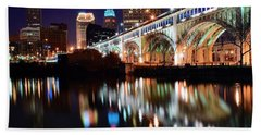 Cleveland Ohio Skyline Beach Towel by Frozen in Time Fine Art Photography