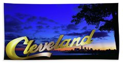 Cleveland Sign Sunrise Beach Towel