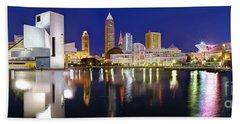 Cleveland Skyline At Dusk Beach Sheet