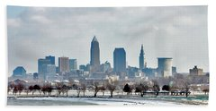Beach Towel featuring the photograph Cleveland Skyline In Winter by Bruce Patrick Smith