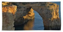 Cliff Arch In Albandeira Beach During Sunset 2 Beach Sheet by Angelo DeVal