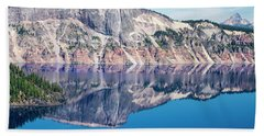 Beach Towel featuring the photograph Cliff Rim Of Crater Lake by Frank Wilson