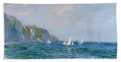 Cliffs And Sailboats At Pourville  Beach Towel by Claude Monet