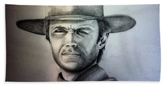 Clint Eastwood Portrait  Beach Sheet