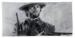 Beach Sheet featuring the drawing Clint Eastwood by Viola El