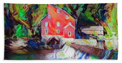 Clinton New Jersey -the Red Mill  On The Raritan River  Watercol Beach Towel by Bill Cannon