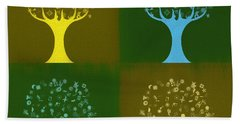 Beach Towel featuring the mixed media Clip Art Trees by Dan Sproul