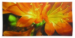 Beach Sheet featuring the painting Clivias by Chris Hobel
