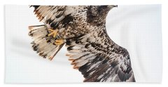 Close Call  With A Bald Eagle Beach Sheet by Ricky L Jones