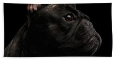 Close-up French Bulldog Dog Like Monster In Profile View Isolated Beach Towel by Sergey Taran