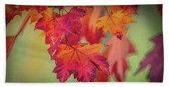 Close-up Of Red Maple Leaves In Autumn Beach Towel