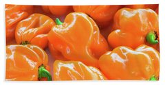 Closeup Of Fresh Chillies Habanero Orange Beach Towel