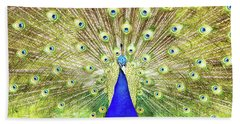 Closeup Of Peacock Displaying Train Beach Towel