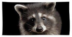 Closeup Portrait Cute Baby Raccoon Isolated On Black Background Beach Towel by Sergey Taran
