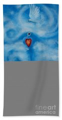 Clouded Heart With Dove Beach Sheet