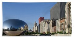 Cloudgate Reflects Michigan Avenue  Beach Towel
